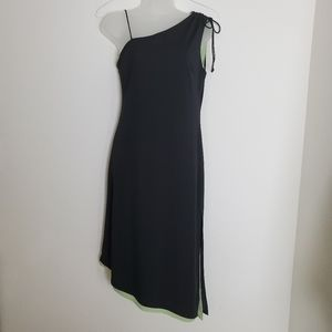 Express One Shoulder Black/Green Lined Dress